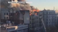 Un incendio de cinco alarmas se desató en un edificio de apartamentos en Hamilton Heights.